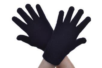 McDonald Black Possum Fur Merino Full Finger Gloves