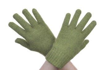 McDonald Lime Possum Fur Merino Full Finger Gloves