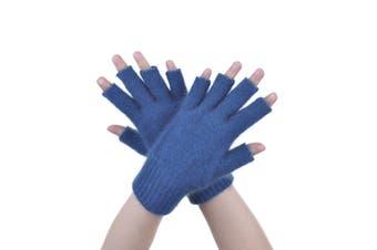 McDonald Teal Possum Fur Merino Fingerless Gloves