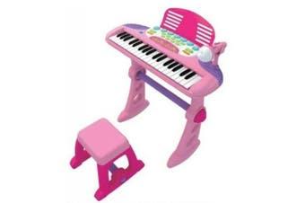 Lenoxx Kids 37 Key Electronic Keyboard Organ Piano Toy w/ Microphone Music Play- Pink