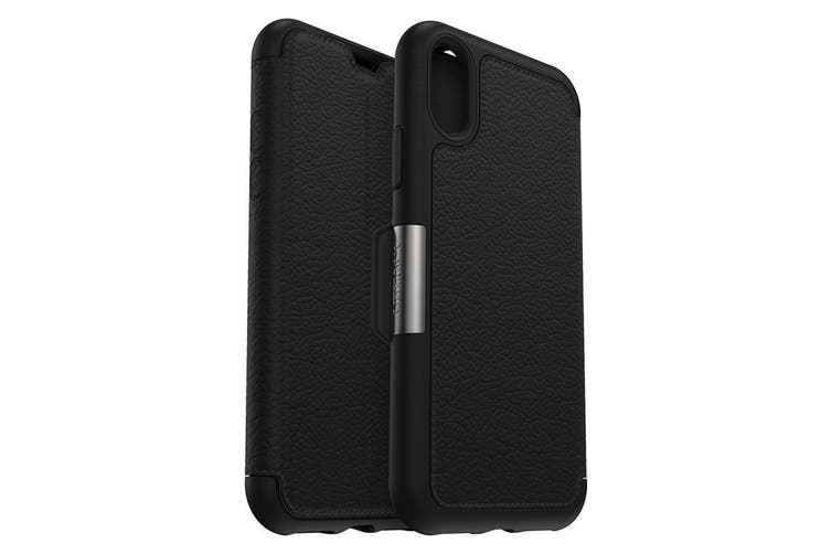 OTTERBOX STRADA LEATHER CARD FOLIO CASE FOR IPHONE XS/X - BLACK (SHADOW)