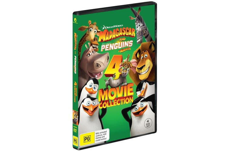 Madagascar and Penguins of Madagascar 4 Movie Collection Box Set DVD Region 4