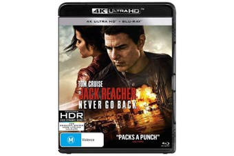 Jack Reacher Never Go Back 4K Ultra HD Blu-ray UHD Region B