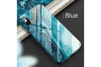 ShockProof Tough Glass Marble Soft Cover For iPhone XS Max-Blue