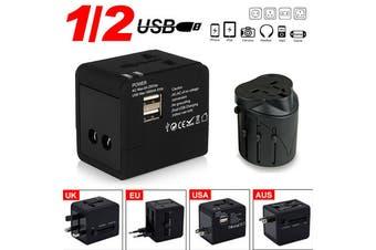 International Universal Travel Power Adapter Wall charger AU EUROPE USA UK-HHT148-BK