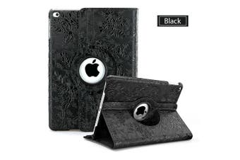 Flower Leather 360 Rotate Smart Folding Case Cover for Apple iPad 2/3/4-Black