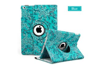 Flower Leather 360 Rotate Smart Folding Case Cover for Apple iPad Air 2-Blue