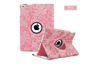 Flower Leather 360 Rotate Smart Folding Case Cover for Apple iPad Air 2-Pink