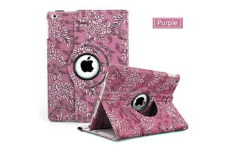 Flower Leather 360 Rotate Smart Folding Case Cover for Apple iPad Air 2-Purple