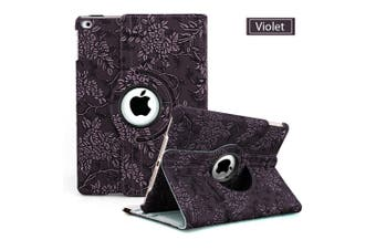 Flower Leather 360 Rotate Smart Folding Case Cover for Apple iPad Air 2-Violet