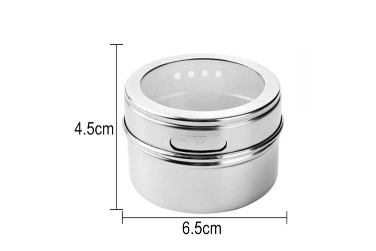 12PCS Kitchen Magnetic Spice Jar Pot Holder Storage Rack Herb Stainless Steel