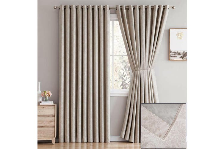 2x Blockout Eyelet Curtains 3 Layer Embossed Fabric 100% Blackout Room Darkening-Chocolate 140x230cm