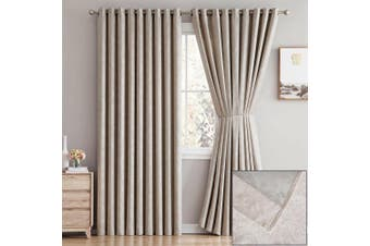 2x Blockout Eyelet Curtains 3 Layer Embossed Fabric 100% Blackout Room Darkening-Chocolate 180x230cm