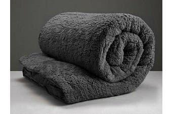 Super Warm Teddy Bear Fleece Quilt Doona Duvet Cover Set Double Winter-Black