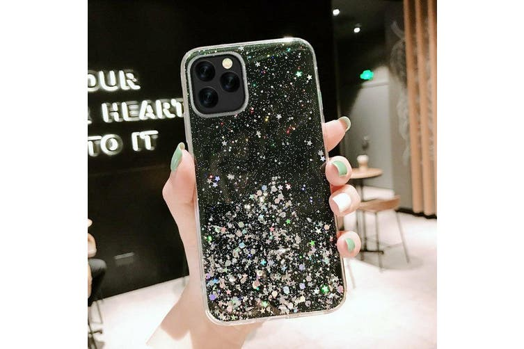 For iPhone X Bling Glitter Shockproof Phone Case Cover-Black