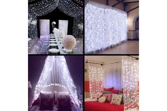 Led Curtain Fairy Lights Wedding Indoor Outdoor Christmas Garden Party-CoolWhite-6x3M-600LED