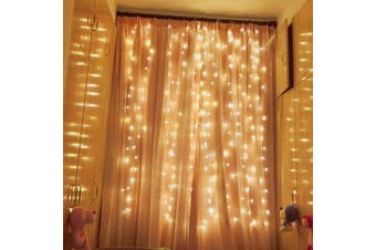 Led Curtain Fairy Lights Wedding Indoor Outdoor Christmas Garden Party-WarmWhite-6x3M-600LED