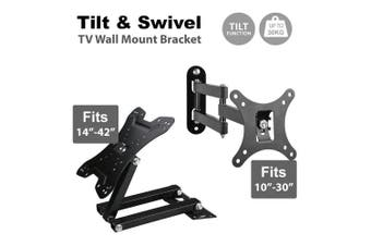 "Tilt Swivel TV Wall Mount Bracket LCD LED Monitor-10""-42"" VESA20x20cm"