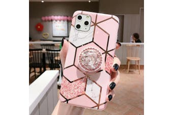 Geometric Marble Case with Pop Up Holder Socket - For iPhone 8 Plus/ Pink Marble With Diamond Stand Holder