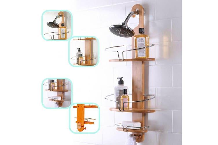 Bathroom Bamboo Shower Caddy Chrome Steel Bath Shelf Tier Storage Rack With Hook 1 Set Matt Blatt