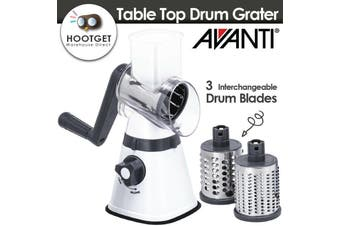 [3 Blades] Avanti Table Top Drum Grater Stainless Steel Slicer Suction Base