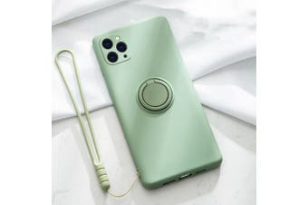 For iPhone Ring Stand Case Shockproof Liquid Silicone Cover-IP11-AvocadoGreen