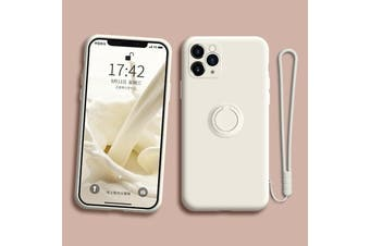 For iPhone Ring Stand Case Shockproof Liquid Silicone Cover-IP11-CreamWhite