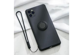 For iPhone Ring Stand Case Shockproof Liquid Silicone Cover-IP11ProMax-Black