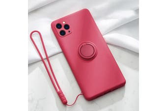 For iPhone Ring Stand Case Shockproof Liquid Silicone Cover-IP11ProMax-HotPink