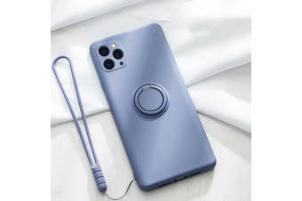 For iPhone Ring Stand Case Shockproof Liquid Silicone Cover-IP11ProMax-LavenderGrey