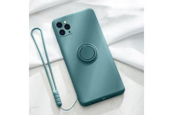 For iPhone Ring Stand Case Shockproof Liquid Silicone Cover-IP11ProMax-MidnightGreen