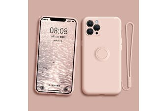 For iPhone Ring Stand Case Shockproof Liquid Silicone Cover-IPSE2020PeachyPink