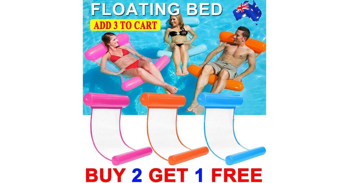 techacc inflatable floating water hammock float pool lounge bed swimming chair sea beach orange fy1469 floatinghammock orange