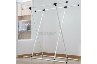 Double Pole Garment Holder Clothes Adjustable Height 140cm Portable Rail Stand