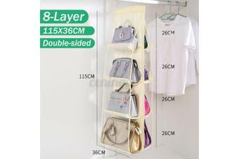 8-Pockets Handbag Storage Organizer Anti-dust Cover Large Clear Bag Rack Hangers-Beige Color 115X36cm