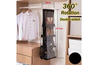 8-Pockets Handbag Storage Organizer Anti-dust Cover Large Clear Bag Rack Hangers-Black Color 117X35cm