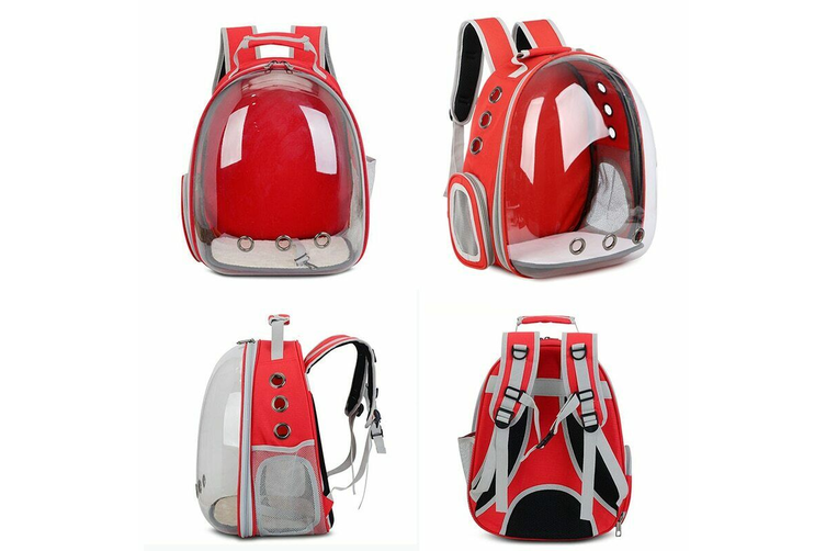 Pet Outdoor Carrier Backpack Cat Dog Puppy Travel Space Capsule Shoulder Bag-Red