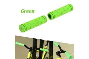1Pair Mountain Bike Non-slip Cycling Bicycle Durable Rubber Handlebar Grips Soft--Green
