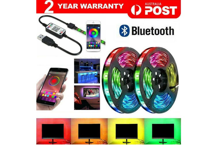 RGB LED Strip Lights IP65 Waterproof 5050 2M 300 LEDs 12V USB Bluetooth-2M-120LED
