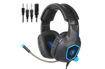 Sades 3.5mm Gaming Headset Headphones Surround Mic for PC Laptop PS4 Xbox One-Blue