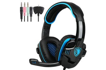 Sades 3.5mm Gaming Headset Headphones Surround Mic for PC Laptop PS4 Xbox One-GT-Blue