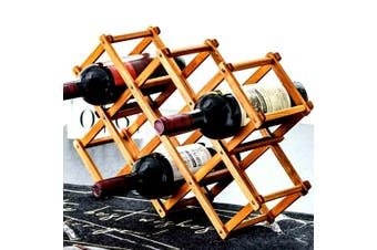 10 Bottles Wooden Wine Rack, Timber Wine Rack