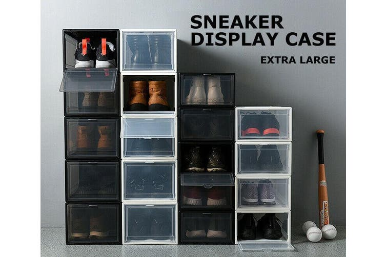Sneaker Display Cases Shoe Box Extra Large Black Transparent Clear Plastic Boxes-Black