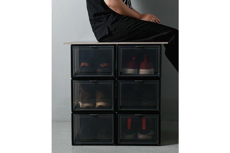 Sneaker Display Cases Shoe Box Extra Large Black Transparent Clear Plastic Boxes-Transparent