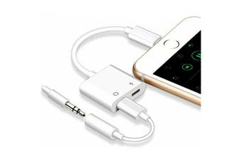 Lightning to 3.5mm Splitter 2in1 Headphone Audio Adaptor  AUX Headphone Jack Charger For iPhone