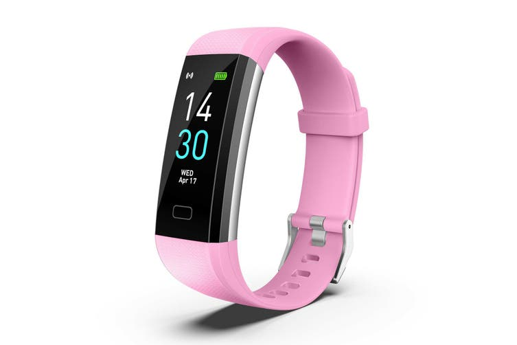 Bluetooth Smart Bracelet Fitbit Style Heart Rate Monitor Watch Pedometer Tracker(Pink)