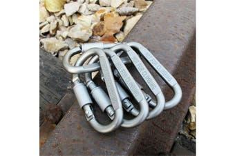 5 x Grey Aluminum Lock Carabiner Clip Snap Hook Screw Keychain Camping fishing