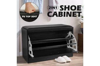 Shoe Cabinet 1 Tier Shoe Storage Rack Wooden Organiser Shelf Drawer Cupboard-Cabinet-Model-black