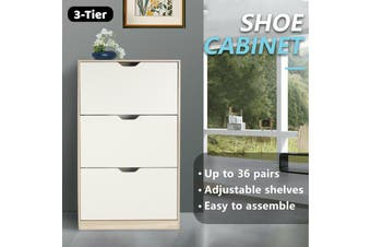 Shoe Cabinet 3 Tier Shoe Storage Rack Wooden Organiser Shelf Drawer Cupboard-Cabinet-Model1-WhiteAndwood