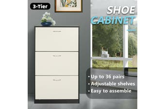 Shoe Cabinet 3 Tier Shoe Storage Rack Wooden Organiser Shelf Drawer Cupboard-Cabinet-Model2-WhiteAndBlack